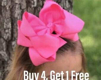 "6.5"" Double bows/boutique bows/double hair bows/white hair bows/school bows/pink hair bows/black bows/large hair bows"