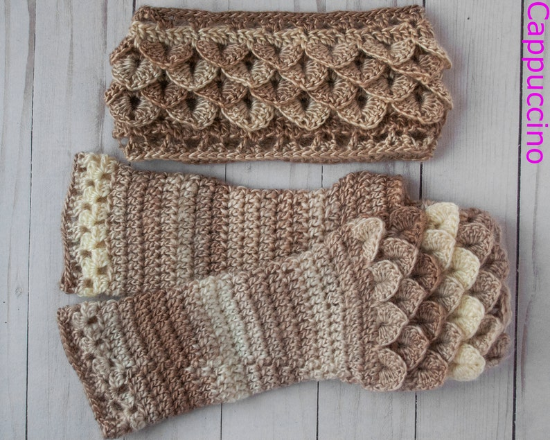 Dragon Scale Fingerless Gloves and Ear Warmer Set Texting ...