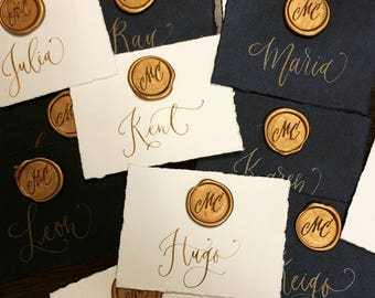 Wax Seal Calligraphy Place Cards, Wedding Place Cards, Wax Seal Cards, Calligraphy Place Cards, Hawaii Calligraphy
