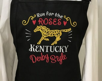 Kentucky Derby Run for the Roses Apron embroidered