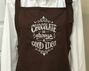 Chocolate Lover Gift Embroidered Apron UNIQUE!