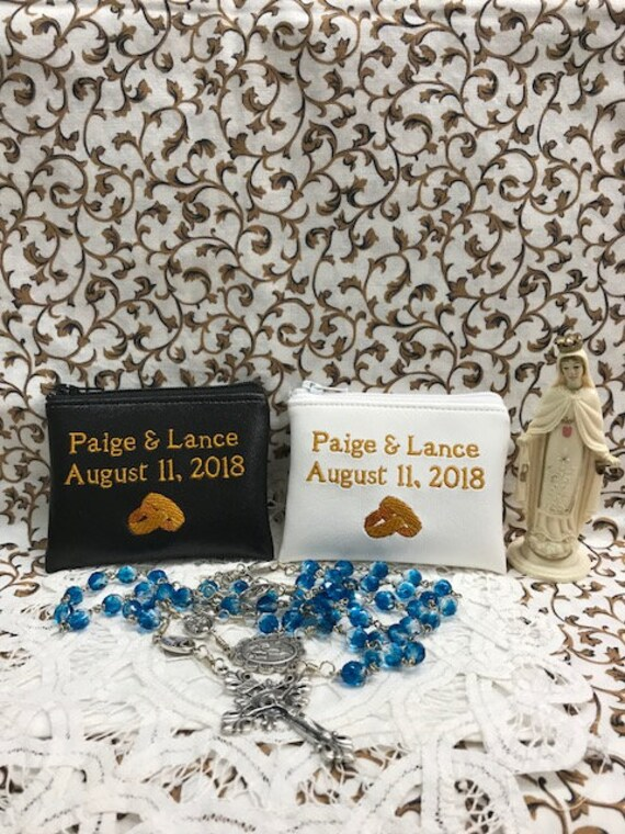 Catholic Wedding Gift Personalized Rosary Pouch Embroidered Etsy