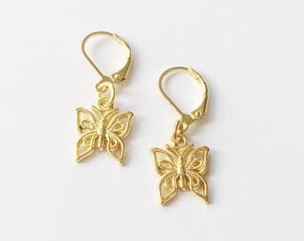 f5baa76b2 Butterfly Baby Earrings // Gold Butterfly Dangling Earrings - FREE SHIPPING