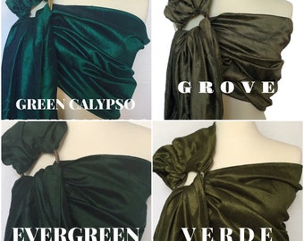 GREENS (scroll for more color options)- Ring Sling - Baby Carrier - Baby Sling - Dupioni Silk