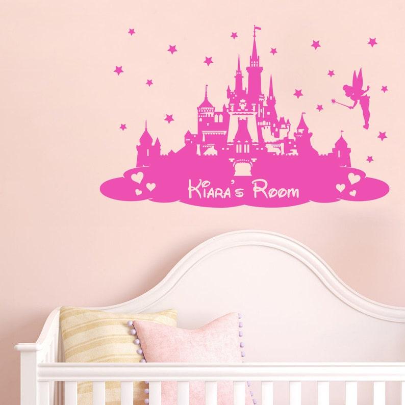 disney princess castle personalised wall sticker | etsy