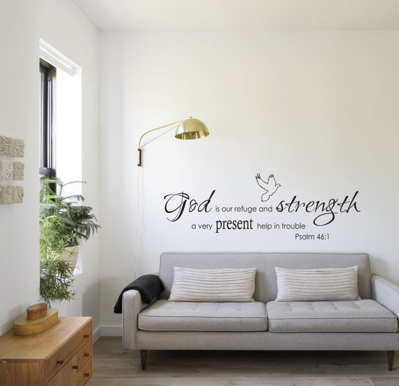 /'GOD IS OUR REFUGE../' RELIGEOUS PSALM GOD WALL STICKER DECAL ART VINYL