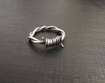 Sterling Silver Mens Ring, Barbed Wire