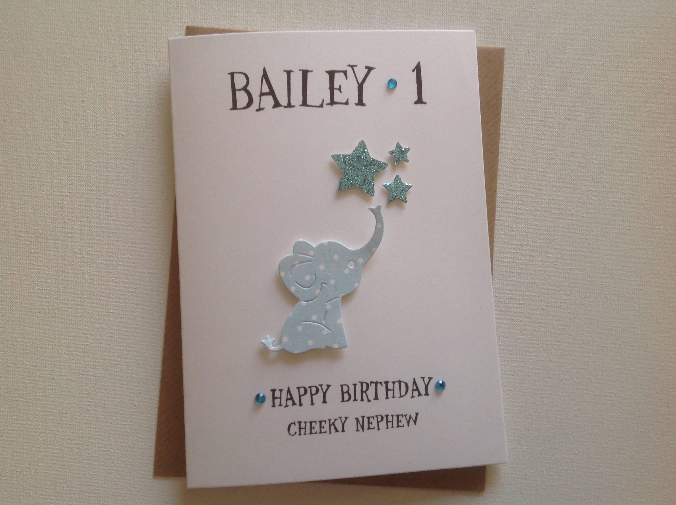 Handmade Personalised 1st Birthday Card Son Grandson