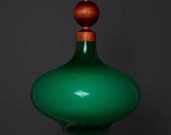 Danish Green / Opal Cased Glass & Teak Ceiling Pendant Lamp - 1960s Vintage