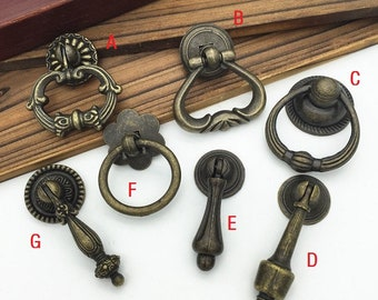 Antique Furniture Wardrobe Door Pull Handles Bookcase Drawer Cabinet Knobs Decor