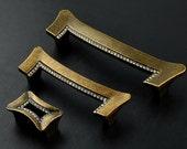 1.25 quot 3.78 quot 5 quot Crystal Dresser Drawer Knobs Pulls Handles Cabinet Knobs Pulls Rhinestone Glass Door Handles Antique Bronze Clear 32 96 128