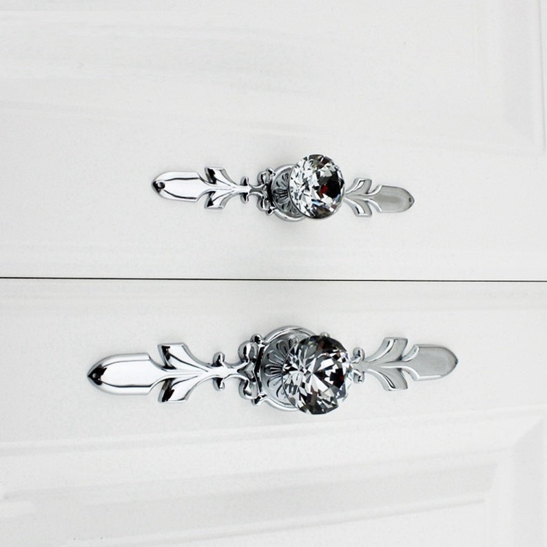 Crystal Drawer Knobs Pulls Handle Silver Chrome Clear Glass Dresser Knobs Pulls Back Plate Bling Rhinestone Kitchen Cabinet Door Knob Handle