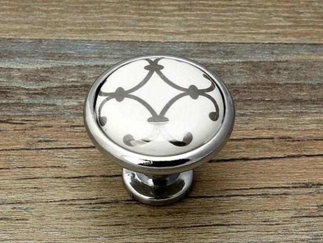 Kommode Knöpfe Schublade Knob zieht Griffe weiß silber Schrank | Etsy