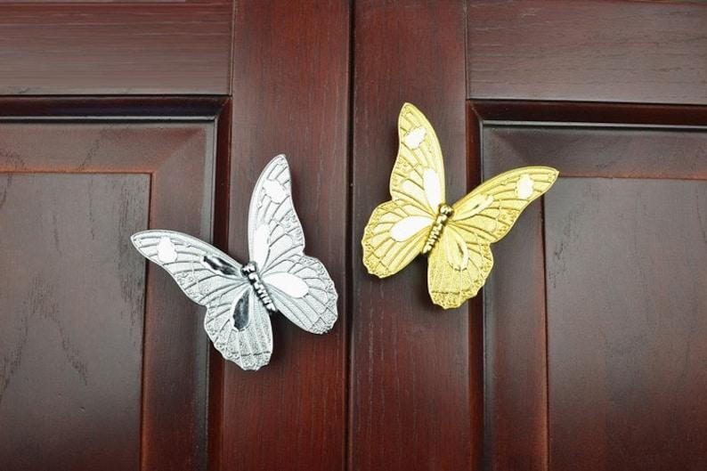 Butterfly Dresser Knobs Pulls Drawer Pulls Handles Kitchen Etsy