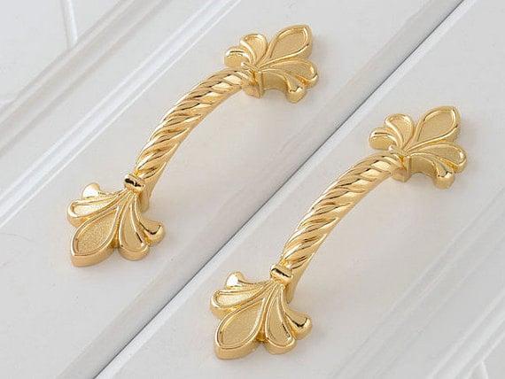 Gold Dresser Knobs Pulls Drawer Pull Handles Fleur Etsy