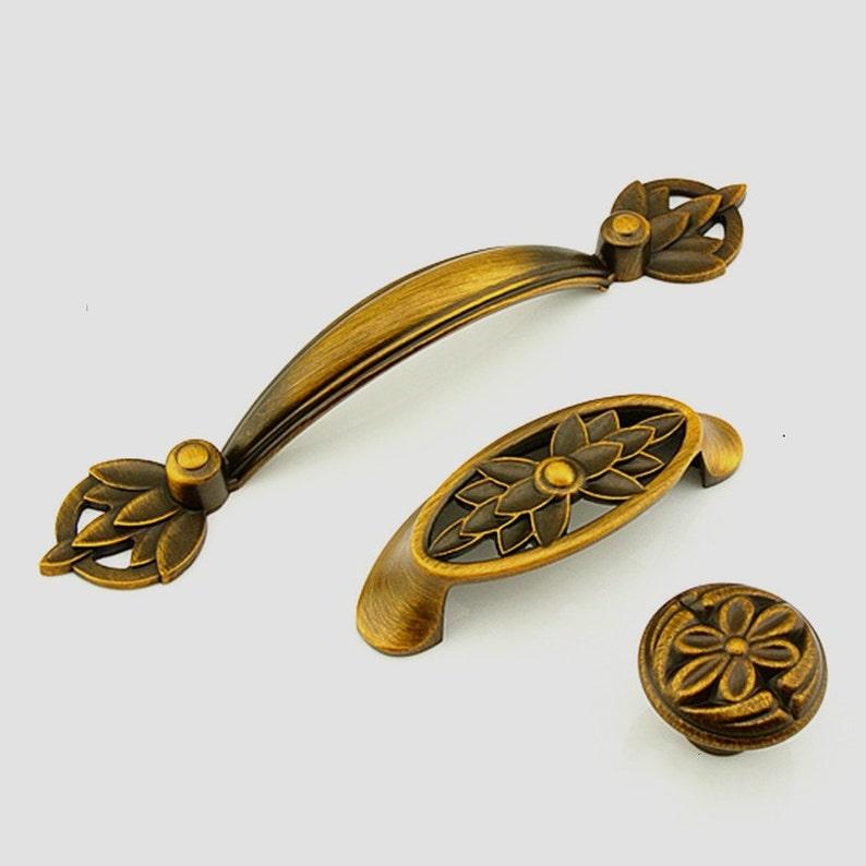 Dresser Knobs Drawer Knobs Pulls Handles Antique Brass Flower Rustic Kitchen Cabinet Knobs Pulls Handles Decorative Knob Furniture Hardware
