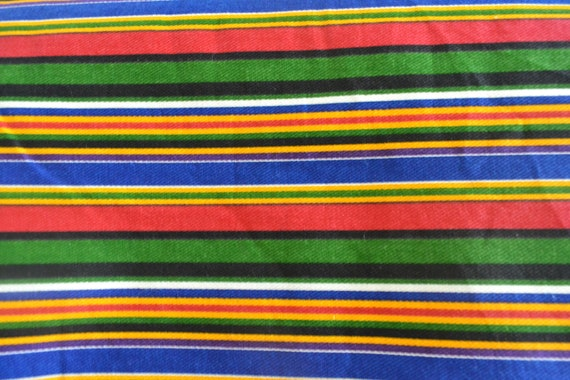 Striped Upholstery Fabric Blue Green Red Black Yellow Etsy