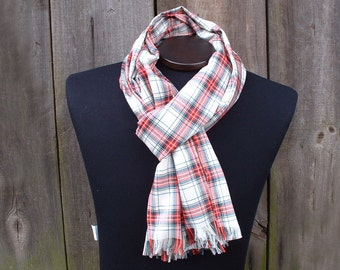 Plaid Mens Scarf; Off White, Red, Dark Teal Scarf Tartan Fashion Scarves for Men; Plaid Viscose Scarf; Fringe / Infiniti Scarf; Gift for Him