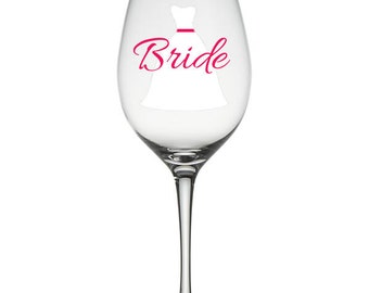 Custom Wine Glass - Dress with Sash & Title or Name