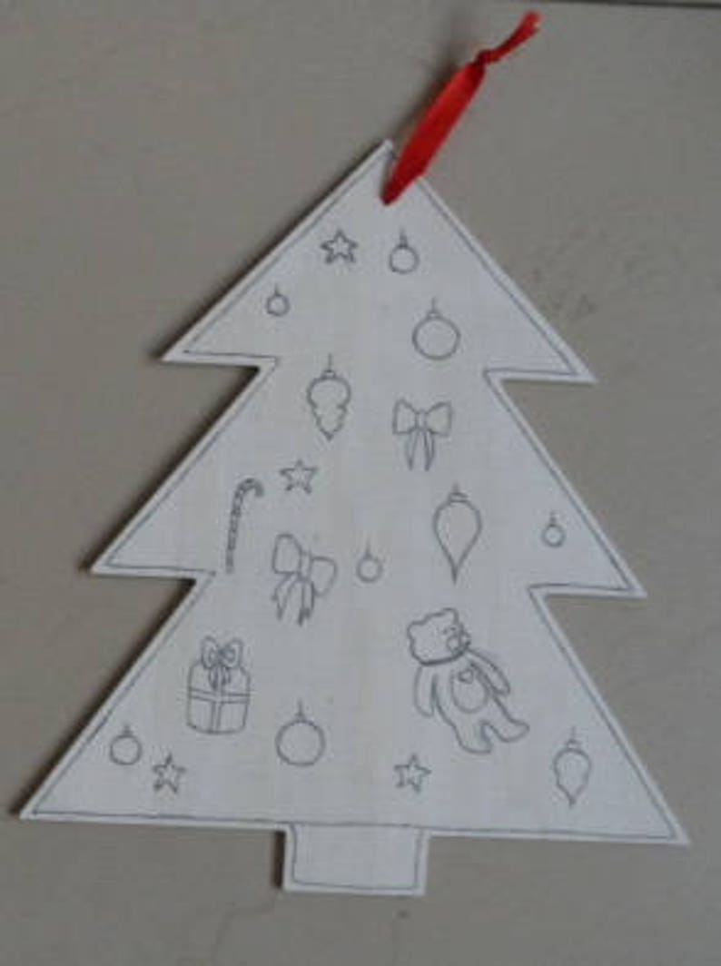 Wooden Tree Coloring Ornament Kids Christmas Craft Christmas Etsy