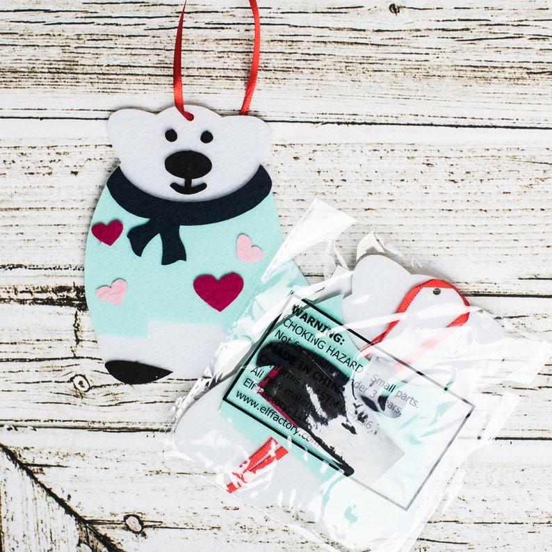 Polar Bear Ornament Polar Bear Craft Christmas Polar Bear Felt Polar Bear Felt Christmas Ornament