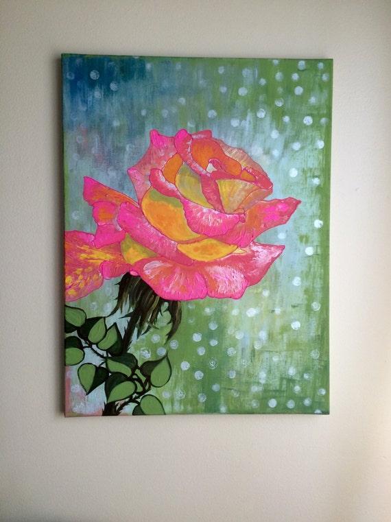 Rose Peinture Acrylique Rose Roses Toile Art Art Mural Rose Etsy