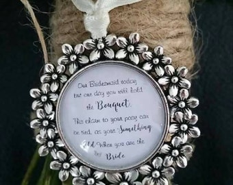 Flower girl charm with ribbon bow ** free p&p