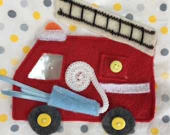 Fire Truck Quiet Book Page PDF Pattern | Quiet Book | Busy Book | Toddler book| Activity Book | Quiet books | Sewing pattern | Buttoning