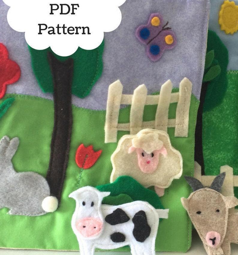 Farm Animals Quiet Book Page PDF Pattern Felt Animals Sewing  98019cc5a2