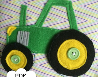Tractor Quiet Book Page PDF Pattern |  PDF | Quiet Book | Felt Busy Book | Toddler book | Activity Book | Fabric quiet book