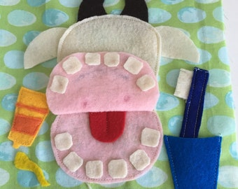 Cow Brushing Teeth Quiet Book Page PDF Pattern|Sewing Pattern Cow|Brushing Teeth Activities Quiet Book|Quiet Book Pattern Cow Brush Teeth