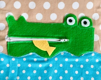 Quiet Book Page PDF Pattern Alligator Zipper Activity | Quiet Book Toddler | Busy Book Pattern | Toddler Activity Book | Sewing pattern