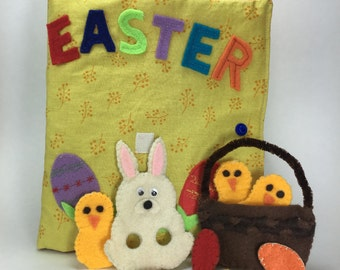 Easter quiet book sewing pattern and tutorial with Easter felt bunny puppet | Easter activity book| Easter gift for kids| Spring quiet book