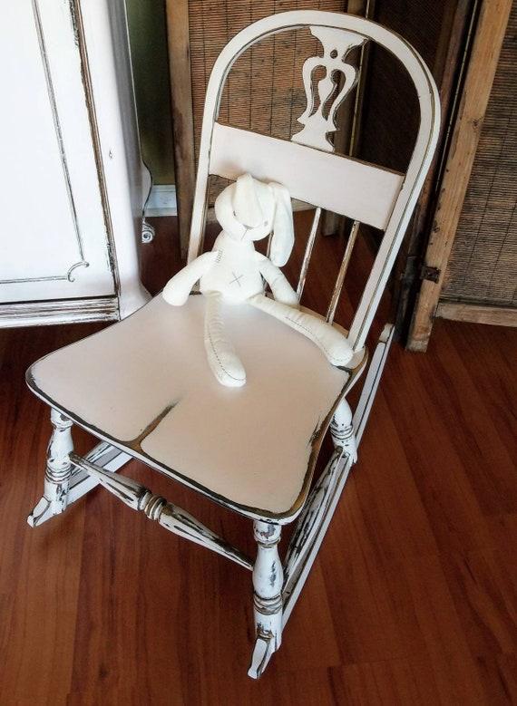 SOLD Childu0027s Vintage Solid Wood Rocking Chair Ballerina | Etsy