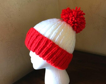 29e39712 ... 50% off hand knit red and white pom pom hat no seamwashable acrylic  team colors