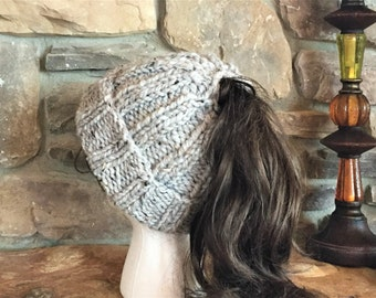 Ponytail or Bun Hand Knit Cuff Hat. Many colors to choose from  multiple  sizes 472f27119933