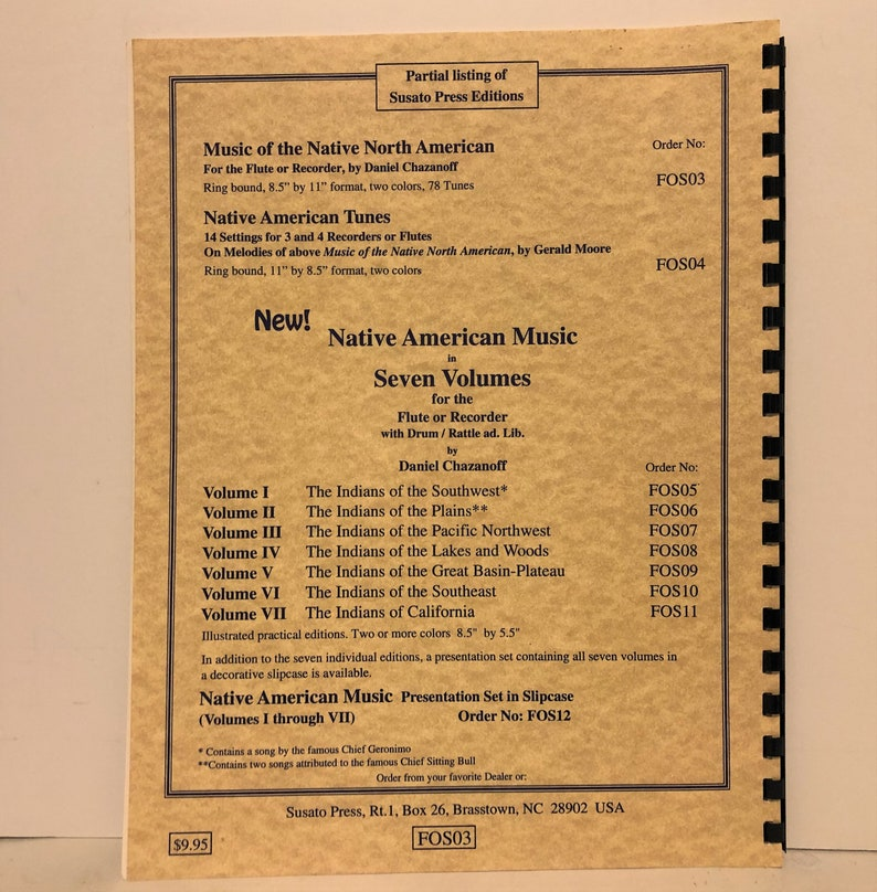Music of the Native North American for the Flute or Recorder Song Book