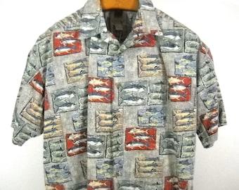 ba8ab85d1 Vintage 90s KAHALA Hawaiian & Fishing Shirt 100% Cotton Size L
