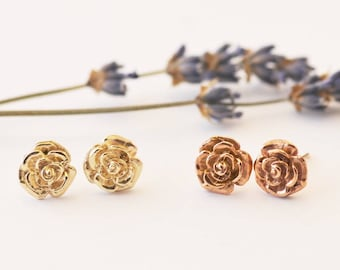 Gold Rose Studs, gold studs, rosegold, yellow gold, flower earrings