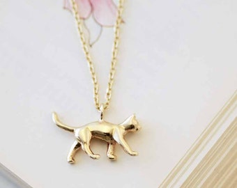 Gold Cat Necklace, cat jewellery