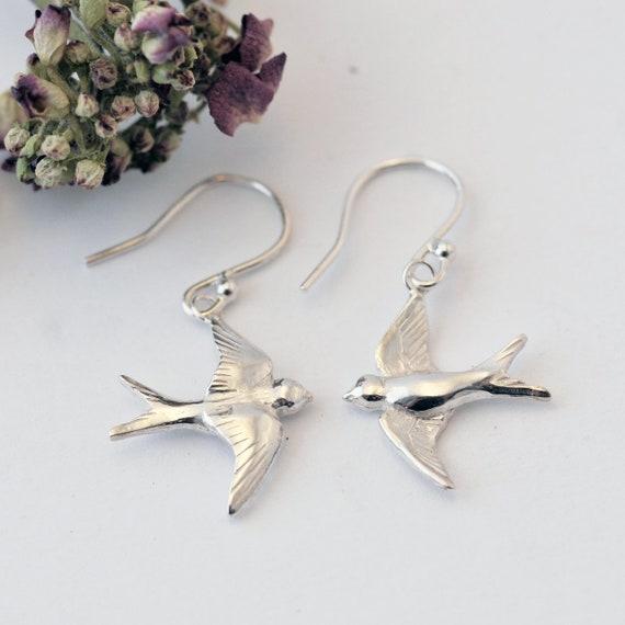 Silver Swallows Bird Earrings