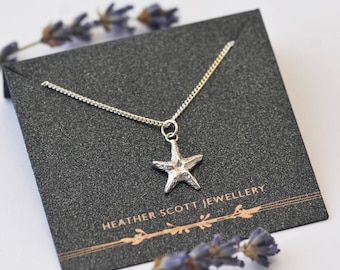 Starfish Necklace, starfish jewellery, starfish pendant, silver starfish, fish jewellery, for her, gift, birthday