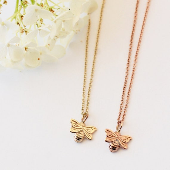 2adf74b391d Dainty Gold Bee Necklace Bee necklace Nature Gifts Handmade   Etsy