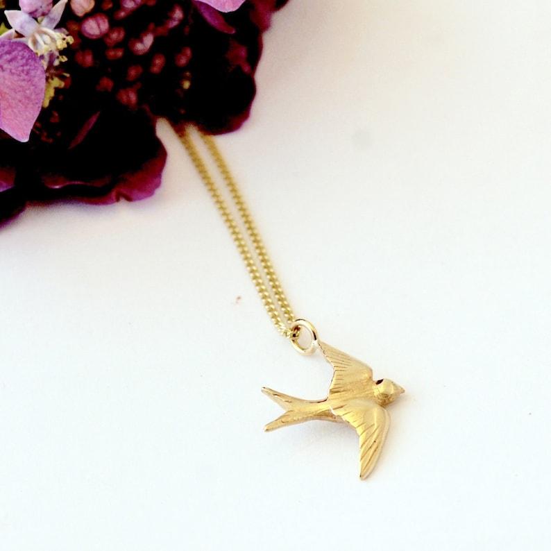 gold bird jewellery swallow jewellery gold bird necklace gold swallow Gold Swallow Necklace