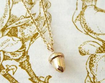 Tiny Gold Acorn Necklace, acorn jewellery, dainty necklace