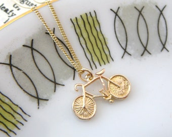 Gold Bicycle Necklace, bike jewellery, gold necklace, handmade Uk jewellery