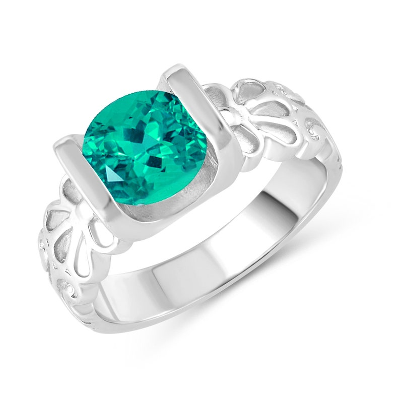 Sterling Silver with Choice of Gemstone Solitaire Ring