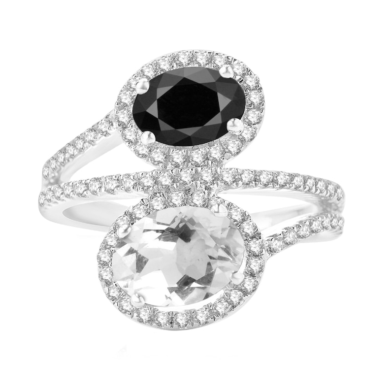 Sterling Silver with Oval Shape Natural Black Spinel and White Topaz Bypass Ring