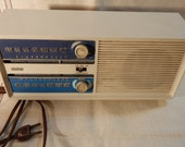 Vintage 1960s RcA Victor Turquoise on White AM-FM-AFC Electric Radio in Mid Century Modern Wedge-Shape Styling