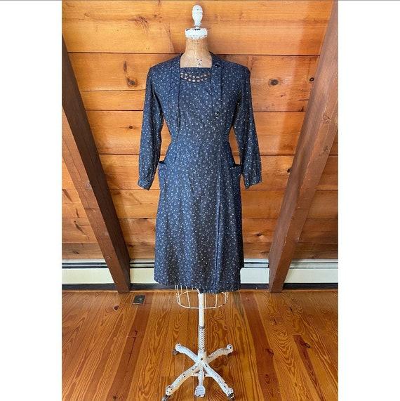 Vintage 1940s Dress / 40s French Workwear Chore W… - image 1